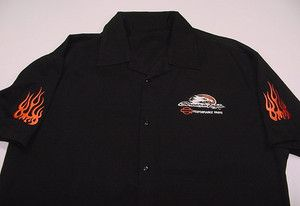 EAGLE PERFORMANCE PARTS MOTORCYCLE BIKER FLAME BOWLING WORK SHIRT XL