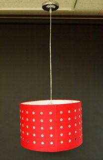 Light Drum Fabric Shade Pendant Lighting w Holes Ceiling Chandelier