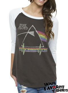 Pink Floyd Dark Side Junk Food Licensed Women Junior Raglan Shirt s XL