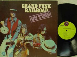 GRAND FUNK   On Time LP (1st US Pressing w/Lime Green Labels, Debut
