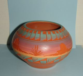 Beautiful Mesa Verde Pottery Incised Navajo Bowl Signed V Silas w COA