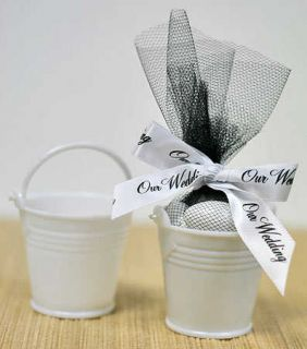 48 Mini White Plastic Favor Pail Shower Wedding Favors