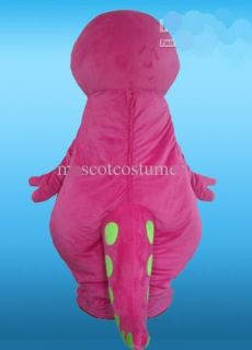Barney Mascot Costume Character Party Fancy Dress Adult Size