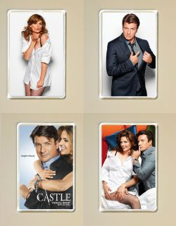CASTLE SEASON 5 NATHAN FILLION STANA KATIC LOT OF 4 PHOTO FRIDGE
