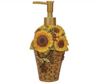 Kitchen Bath Soap Lotion Dispenser Sunflower Basket Linda Spivey