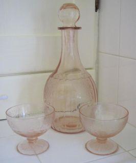 Glass Decanter w Stopper 2 Short Glasses Mayfair Floren Patter