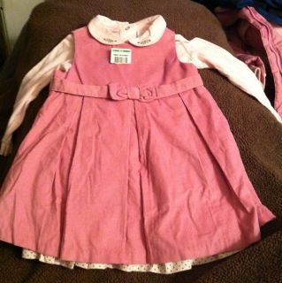 First Impressions Baby Girl Corduroy Pink Long Sleeve 2 Piece Dress