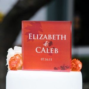 Personalized Fall Wedding Cake Topper Engraved Acrylic Fall Leafs Cake
