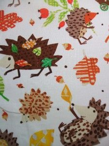 Dear Stella Autumn Hedgehog Fall Leaves Animal Cotton Fabric Yard