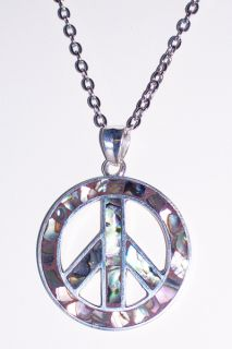 Large 925 Silver Abalone Peace Sign Pendant Necklace