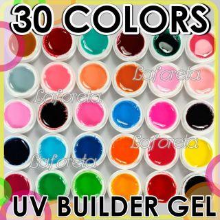 Mix 30 Pure Colors UV Builder Gel Set for Nail Art False Full French