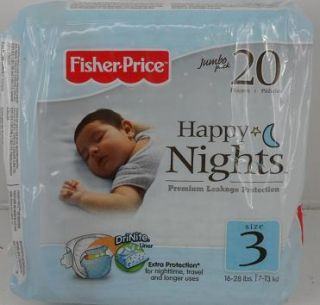 fisher price happy nights baby diapers 12 packs of 20 size 3 $ 65