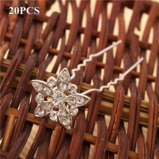 Shining Alloy Rhinestone Flower Hair Pins Wedding Bridal Hairpins