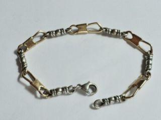 James Avery Sterling Silver 14k Gold Fishers of Men Bracelet 7 1 2