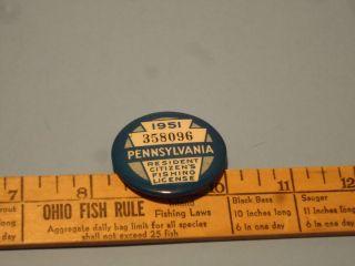 Vintage 1928 pa tin fishing license pin button w paper lic for Fishing license pa