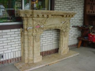 Carved Travertine Marble Shell Fireplace Mantel