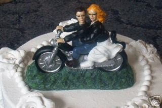Biker Motorcycle Wedding Cake Topper Leather Blnd Bride