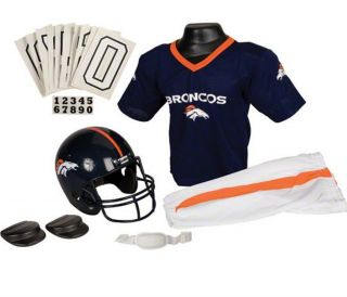 Denver Broncos Kids Youth Football Helmet Uniform Set