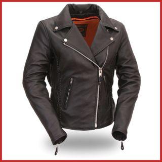 First Mfg Womens Black Hourglass Leather Jacket FIL103MNZ 4X