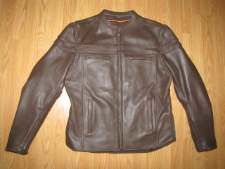 New First Classics Leather Gear Brown Motorcycle Biker Jacket Mens M