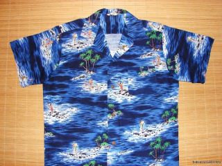 Vintage 50s Net Fish Hawaiian Rockabilly Atomic Shirt L