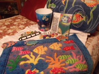 Tropical Fish Bathroom Accessories Shower Curtain Hooks Rug Trash Can