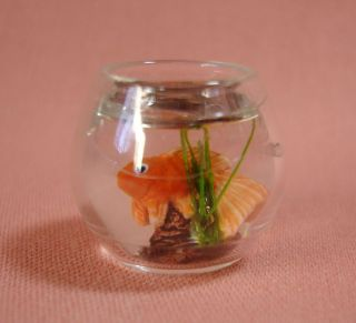Dollhouse Miniature Furniture Fish Bowl with Pet Fish