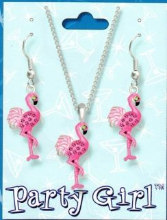 Pink Flamingo Crystal Necklace and Earring Set SET15