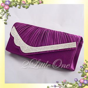Satin Clutch Flap Bag Handbag Evening Wedding Bridal Party Prom Purple