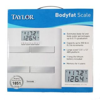 Taylor Body Fat Water Percentage Weight Scale Bathroom Accurate Fast