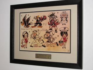 SAILOR JERRY Tattoo Flash Frame USN never again USMC not for me sheet
