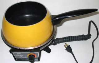 Electric Fondue Pot Oster twin vintage 70s gold small appliance party