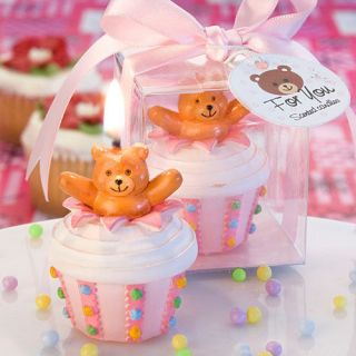 60 Baby Shower Favors Pink Teddy Bear Cupcake Candles