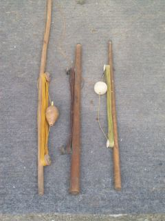 VINTAGE ICE FISHING RODS LOT OF 3 HOMEMADE BOBBERS SINKERS LINE