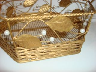 Vintage Gold Metal Wire Gift Basket White Beads Leaves