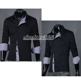 N4U8 Korean Men Stylish Slim Fit Leisure Long Sleeve Shirt 2 Color 3