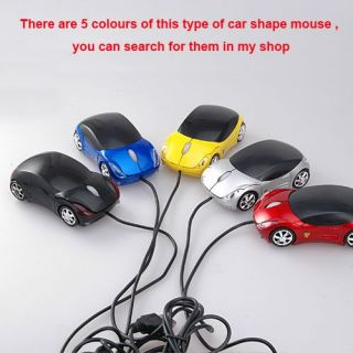 Cool Yellow Sports Car Shape USB Laptop Computer Mouse