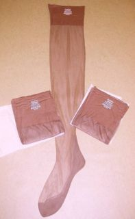 3pr Vtg Seamed Nylon Stockings Sz 12 Outsize 39 Long XL Extra Long