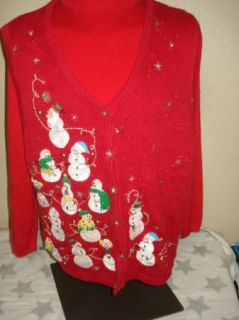 Ugly Christmas Sweater Vest Office Party Contest Snowman Beaded