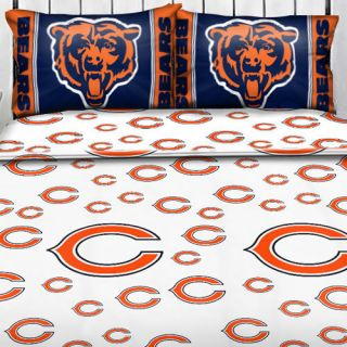 NFL CHICAGO BEARS Logo FULL SHEET SET Football Sheets Sports Bedding