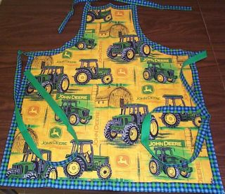John Deere Lined Christmas or anyday Grilling Adult Sewn APRON from