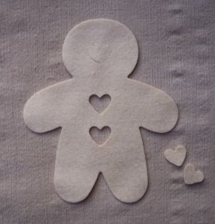 X6 Felt Die Cuts Christmas Decoration Appliqués Gingerbread Man White