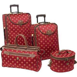 image to enlarge american flyer fleur de lis 4 piece luggage set red
