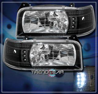 1992 1996 Ford F150 F250 F350 Bronco LED Crystal Headlights Black 1993