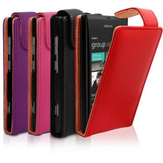 FLIP LEATHER CASE COVER FOR NOKIA LUMIA 800 + SCREEN PROTECTOR
