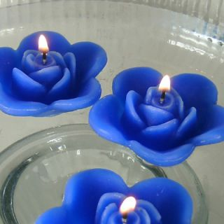 12 Blue Floating Rose Wedding Candles for Table Centerpiece and