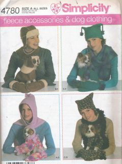 4780 Fleece Accessories Dog Clothing Sewing Pattern 3 Sizes