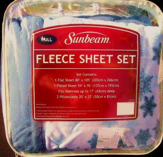 FULL SHEETS FLEECE SNOWFLAKE BLUE PRINT FULL DOUBLE BED SHEET SET