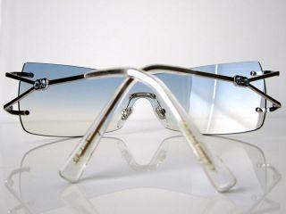 100 Salvatore Ferragamo Frameless Sunglasses Clear Blue Crystals Case