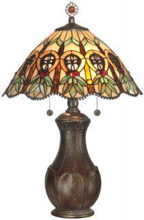 Table Lamp Hand Rolled Art Glass Wreaths Fleurs de Lis 2 Light